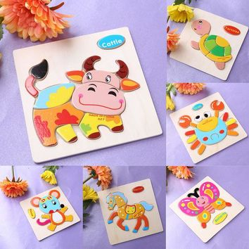 DCCKL72 One Set Kids Jigsaw Puzzle Cartoon Animals Dimensional Puzzle Force Children Wooden Jigsaw Puzzle Kids Education Learning Toys
