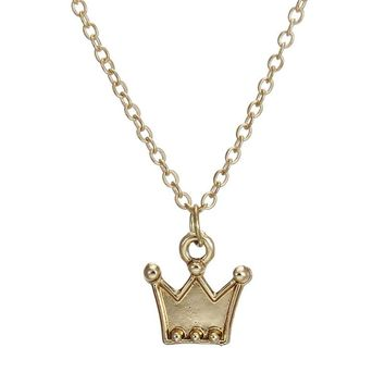 Cute Crown Card Alloy Clavicle Pendant Necklace   171212