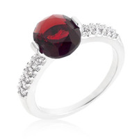 Red Oval Cubic Zirconia Engagement Ring, size : 05