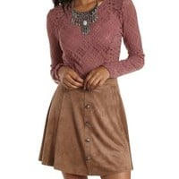 Mauve Long Sleeve Lace Crop Top by Charlotte Russe