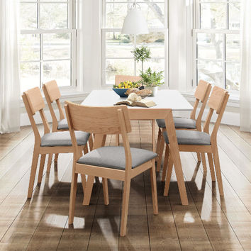 Home Elegance HE-5575-7PC-76 7 pc Misa natural finish wood white top mid century modern dining table set