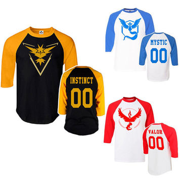 Pokemon Go Team Valor Team Mystic Team Instinct Pokeball T shirt Red Blue Yellow women men ash ketchum trainer