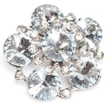 1.5 Inch crystal button brooch, clear