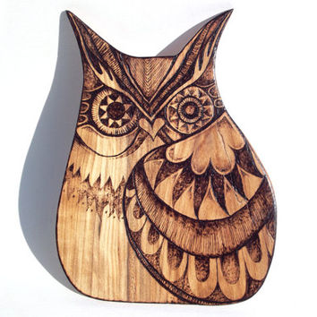 Owl Wall Hanging with Pyrography (Wood burning) Carving in Rowan wood, Owl Wall art, wood carving, pyrography owl art, plaque, Owl decor, uk