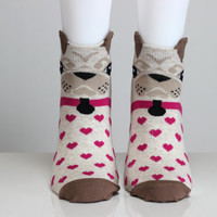 Dog Socks Bulldog Socks 3D Socks Pink Heart Socks Love Socks Girls Socks Women Socks Funny Socks Ankle Socks Animal Socks Cute Fun Socks