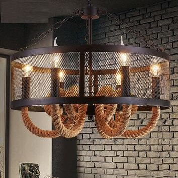 Loft Style Wire Mesh Droplight LED Iron Rope Vintage Pendant Light Fixtures For Dining Room Bar Hanging Lamp Home Lighting