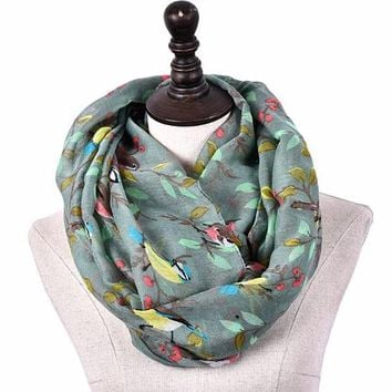 [16009] Bird On Tree Branches Printed Scarf