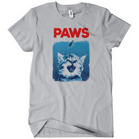 Paws cat kitten adult t-shirt - Jaws Parody animal unisex