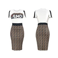 Fendi Summer New Fashion More Letter Print Leisure Top And Skirt Two Piece Suit