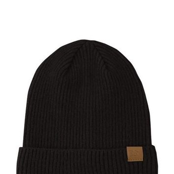 Ribbed Knit Beanie in Black