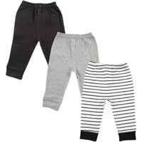 Luvable Friends Newborn Baby Boys Tapered Ankle 3 Pack Pant - Black Stripe - Walmart.com