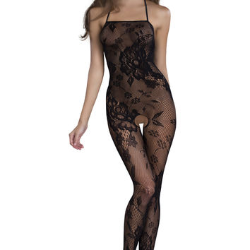 Seamless Lace Patterned Body Stocking