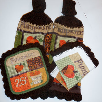 Kitchen Set, Kitchen Towels, Pot Holder, Dish Cloth, Crochet Towels