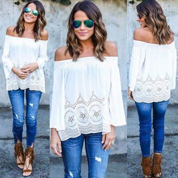 White Long Sleeved Off-Shoulder Blouse / Top With Cut Out Pattern And Hollow Out Sleeves