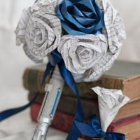 Dr. Who Sonic Screwdriver Handled Paper/Book Page Flower Bouquet 14 Roses and Matching Boutonniere Set