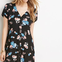 Buttoned Rose Print Dress