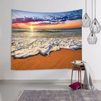 150*130cm/150*210cm Sunrise Beach Ocean Style Wall Hanging Tapestry Home Decor For Living Room Printed scenery Posters