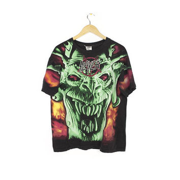 SLAYER all over print shirt - vintage 90s - root of all evil - demon - winterland official tag - flames