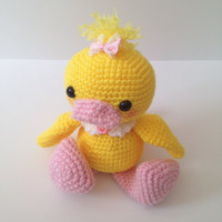 Amigurumi Duck Crochet Duck Ducky Doll Stuffed Animal Stuffed Kids Toy Kawaii Plush Easter Birthday Baby Shower Gift Ideas Easter Gift Ideas