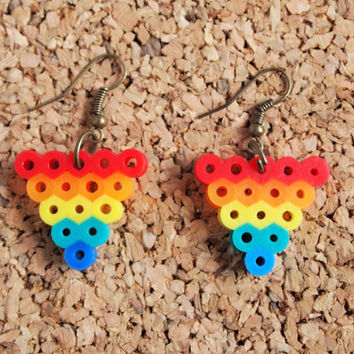 Rainbow Earrings  - custom perler hanna bead jewelry LGBT gay pride  triangle geometry color dangle gold FREE shipping to United States
