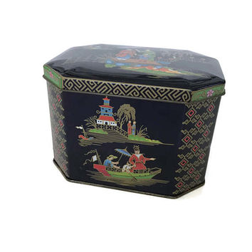 Vintage Daher Tin Box, Asian Garden Design, Lidded, Hinged, Dark Blue-Cookie Tin-Candy Box-Gift Box-England