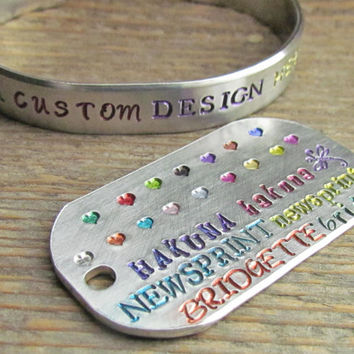 Colored Ink Bracelet Hand Stamped Cuff Aluminum Custom Word Bracelet Handstamped Jewelry Design Your Own Color Ink Bracelet Quotes Names