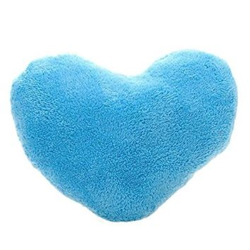 Binmer(TM)Soft Emoji Heart-Shaped Pillow Plush Toy Decorative Cushion Pillow for Home Sofa Office (Sky Blue)