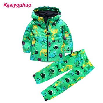 Children clothing set Boys girls Clothing sets Spring Autumn 2-6year Hooded raincoat+pants Waterproof Costume Kids Clothes