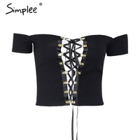 Off shoulder backless camisole tank top Fashion lace up bow crop top women tops street wear Sexy elastic short cropped