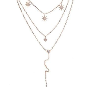 Triple Layer Starlet Necklace - Rose Gold