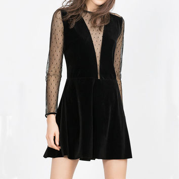 Flannel Velvet Dress Lace Long-sleeve Net Yarn Dress Back