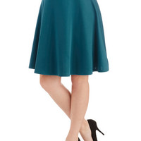 ModCloth Minimal Mid-length A-line En Pointe Accompanist Skirt in Peacock