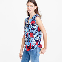 Sleeveless silk popover in deco floral