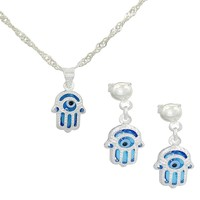 925 Sterling Silver Hand Of Fatima Evil Eye Lucky Hamsa Pendant Earrings Set