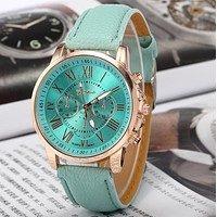 Geneva fake three six-pin men's leather watch ladies fashion casual watches retro couple quartz tide table