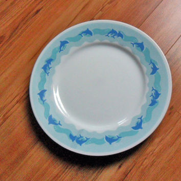 Corelle Ocean Dance Dinner Plate Set of Four Dolphin Plates