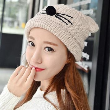 ICIKJG2 Fashion Autumn Winter Knitted Women Ladies Warm Fleece Lined Soft Nap Lined Cute Cat Whiskers Ears Skullies Beanies Hemming Hat