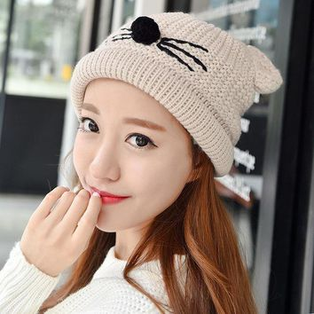 ESBU3C Fashion Autumn Winter Knitted Women Ladies Warm Fleece Lined Soft Nap Lined Cute Cat Whiskers Ears Skullies Beanies Hemming Hat