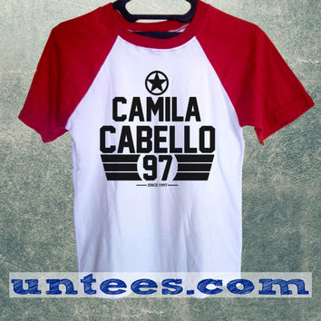 Camila Cabello Fifth Harmony Basic Baseball Tee Red Short Sleeve Cotton Raglan T-shirt