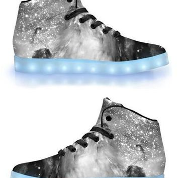 Black & White Cosmos - APP Controlled High Top LED Shoes