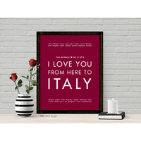 ITALY Custom Wedding Art Print | Gift Idea | HopSkipJumpPaper