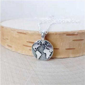 Unisex Globe Necklace Pendant, Gold Plated/Silver Plated