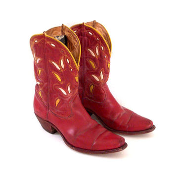 Rare 50s Acme Hopalong Cowboy Boots Red 1950s Inlay Hopalong Cassidy Cowboy Boots - Red Pee Wee Boots 6 6.5 7