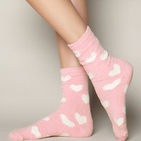 Heart Chenille Socks - Pink Mix | Boux Avenue