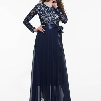 Lace Patchwork Long Sleeve Women's Maxi Dress