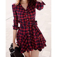 Stylish Turn-Down Collar Checked Print Lace-Up Long Sleeve Women's Dress