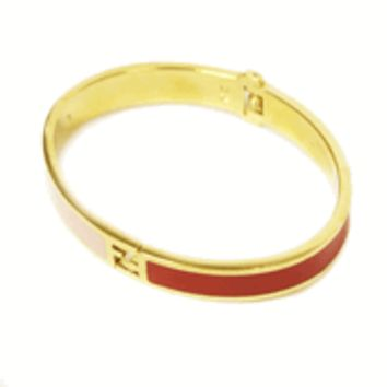 Fendi Gold FF Logo Women's Pink Red Metal Bracelet