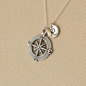 Compass Initial Necklace. Compass Necklace.Personalized  Necklace.Gift for mum mom, sister, friend, birthday.Sterling Silvr Necklace. No.163