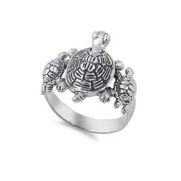 Sterling Silver 3 Turtle Mom and 2 Babies Antiqued Finish Ring