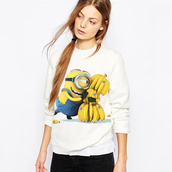 New 2016 Casual Hoody Sport Suit Women Hoodies Sweatshirts Full Sleeve Cute Cartoon Minion Print White Poleron Mujer Sudaderas